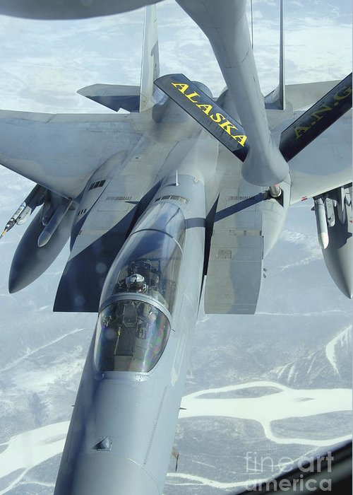 Adults Only Greeting Card featuring the photograph A F-15 Eagle Receives Fuel by Stocktrek Images