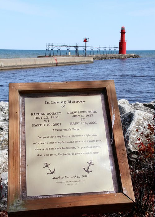 Algoma Greeting Card featuring the photograph A Fisherman's Prayer At Algoma Lighthouse by Mark J Seefeldt