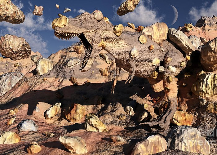 Growl Greeting Card featuring the digital art A Fossilized T. Rex Bursts To Life by Mark Stevenson
