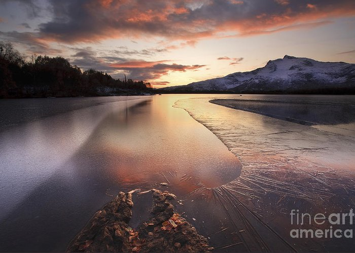 Ice Greeting Card featuring the photograph A Frozen Straumen Lake On Tjeldoya by Arild Heitmann