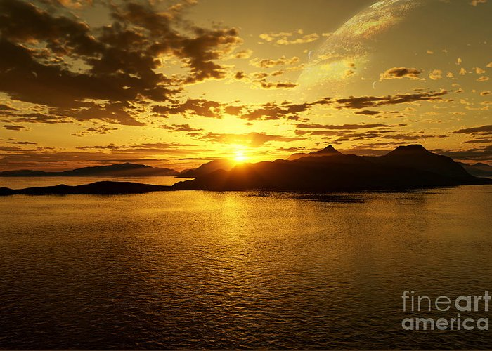 Reflections Of Sun In Water Digital Art Greeting Cards