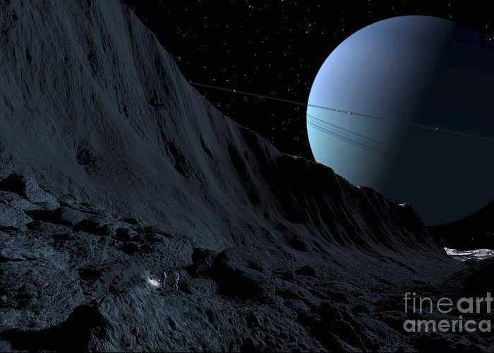Color Image Greeting Card featuring the digital art A Gigantic Scarp On The Surface by Ron Miller