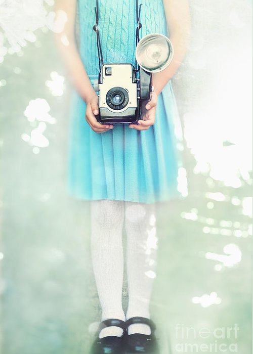 Carrying Greeting Card featuring the photograph A Girl And Her Camera by Stephanie Frey
