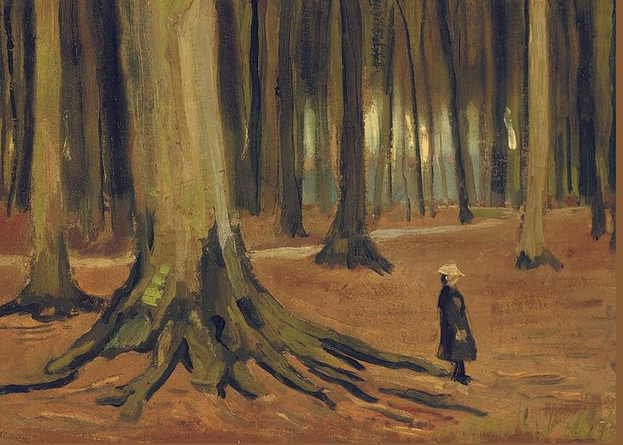 Vincent Van Gogh Greeting Card featuring the painting A Girl In A Wood by Vincent van Gogh