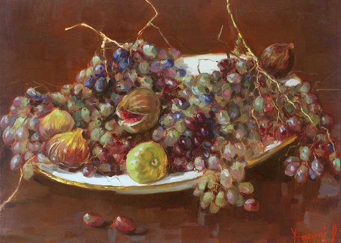 Grapes Greeting Card featuring the painting A Greek Summer Plate by Ylli Haruni