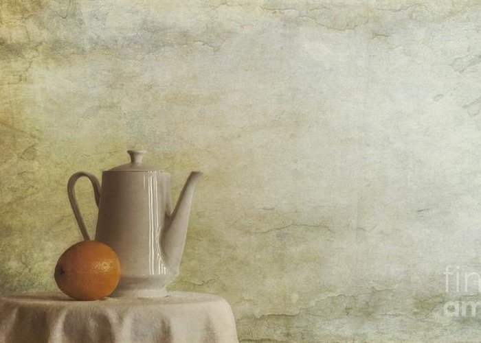 Table Greeting Card featuring the photograph A Jugful Tea And A Orange by Priska Wettstein