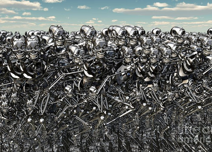 No People Greeting Card featuring the digital art A Large Gathering Of Robots by Mark Stevenson