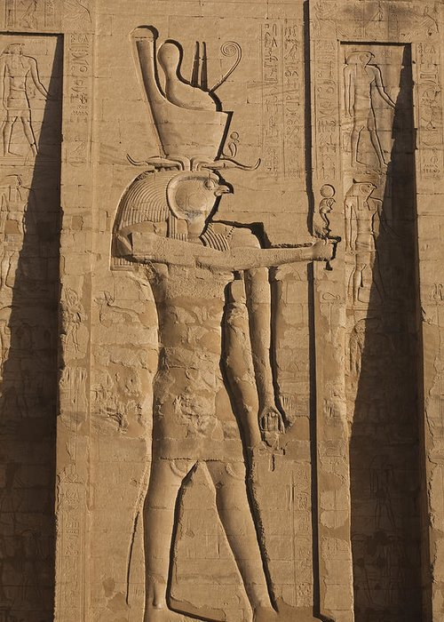 Africa Greeting Card featuring the photograph A Large Relief Of The God Horus by Taylor S. Kennedy