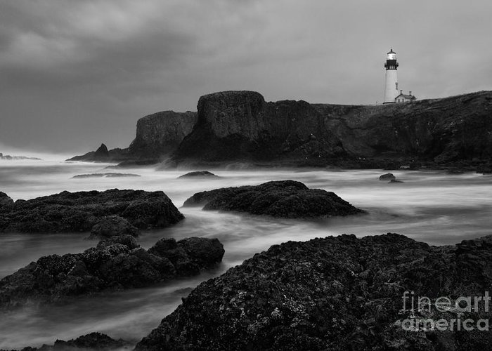 Water Photography Greeting Card featuring the photograph A Light In The Storm by Keith Kapple