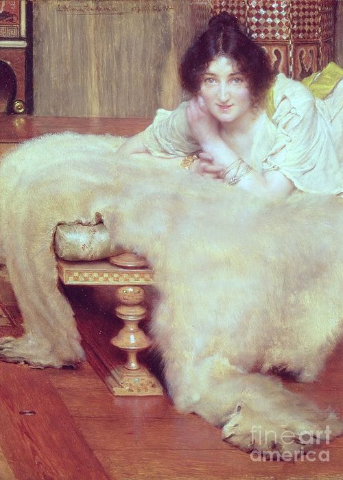 Listener Greeting Card featuring the painting A Listener - The Bear Rug by Sir Lawrence Alma-Tadema
