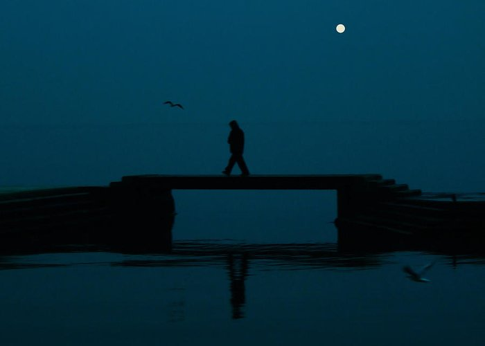 Full Moon Greeting Card featuring the photograph A Lone Man by Jasna Buncic