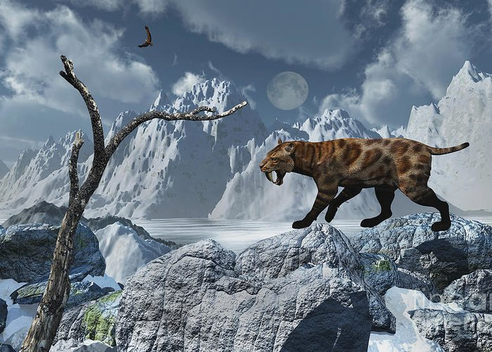 Digitally Generated Image Greeting Card featuring the digital art A Lone Sabre-toothed Tiger In A Cold by Mark Stevenson