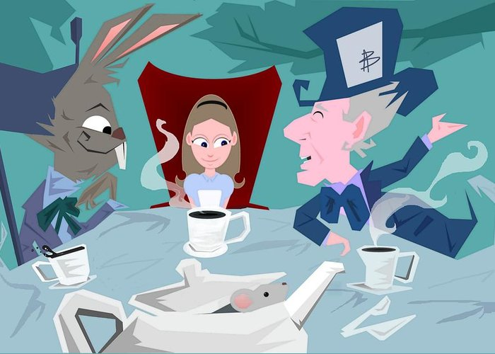 Alice In Wonderalnd~a Mad Tea Party Mad Hatter March Hare White Rabbit Lewis Caroll Fantasy Childrens Books Fairy Tales Doormouse Tea Raven Mad Tea Cups Tea Pot Unbirthday Chesire Cat Greeting Card featuring the digital art 'a Mad Tea Party' by Bryan Rhoads