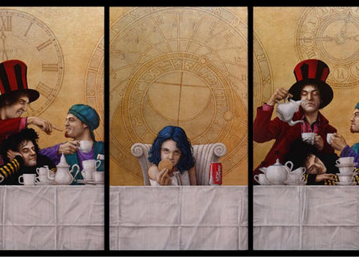 Jose Luis Munoz Greeting Card featuring the painting A Mad Tea-party From Alice In Wonderland by Jose Luis Munoz Luque