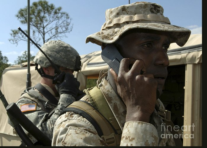 Antenna Greeting Card featuring the photograph A Marine Communicates With Aircraft by Stocktrek Images