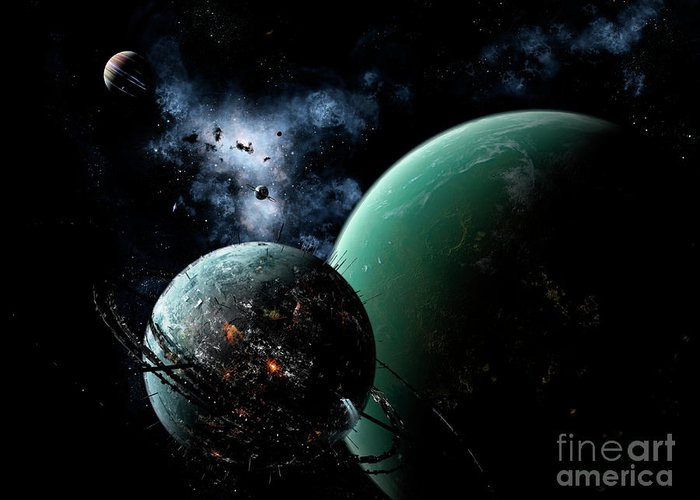 Artwork Greeting Card featuring the digital art A Massive Space Station Orbits A Large by Brian Christensen