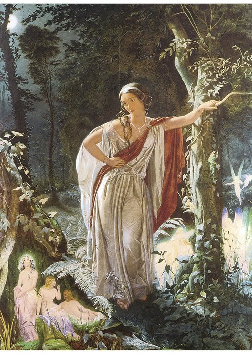 John Simmons Greeting Card featuring the painting A Midsummer Night's Dream Hermia And The Fairies by John Simmons