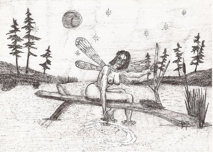Fairy Greeting Card featuring the drawing A Moment With The Moon... - Sketch by Robert Meszaros