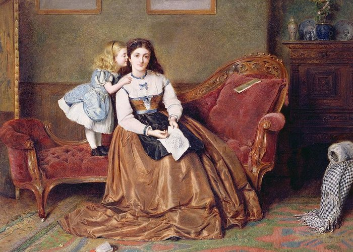 Child; Daughter; Doll; Play; Embroidery; Interior; Chaise Longue; Victorian; Meridienne Greeting Card featuring the painting A Mother's Darling by George Goodwin Kilburne
