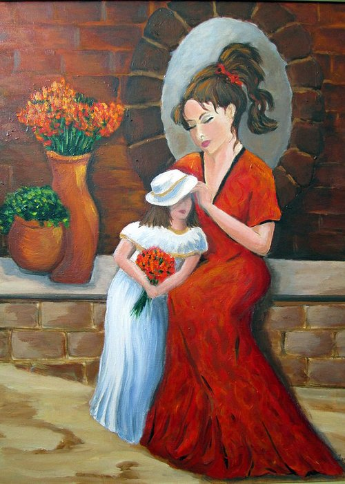 Mother Greeting Card featuring the painting A Mothers Love by Rosie Sherman