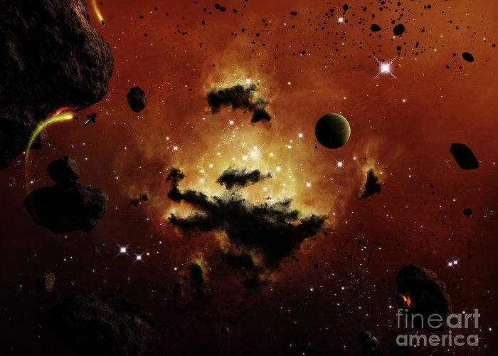 Artwork Greeting Card featuring the digital art A Nebula Evaporates In The Far Distance by Brian Christensen