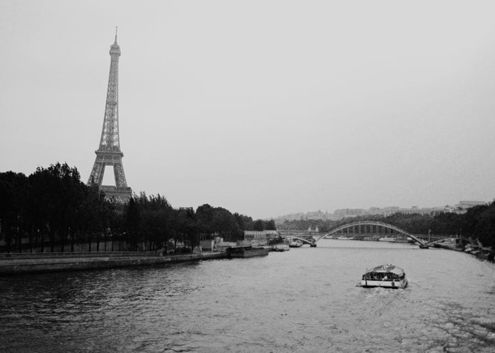 Eiffel Tower Greeting Card featuring the photograph A Noir Look At The Eiffel Tower by Chris Ann Wiggins