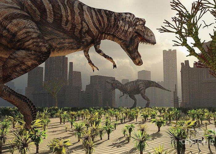 Growl Greeting Card featuring the digital art A Pair Of Tyrannosaurus Rex Explore by Mark Stevenson
