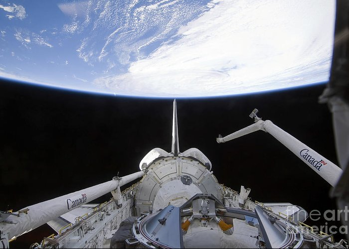Sts-130 Greeting Card featuring the photograph A Partial View Of The Tranquility Node by Stocktrek Images