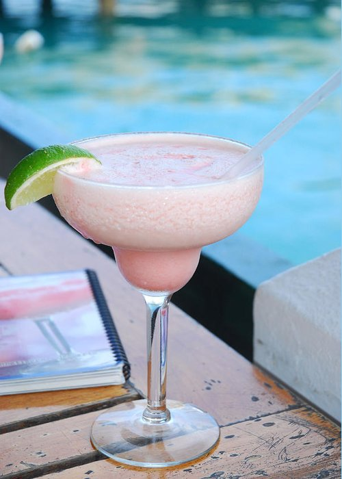 White Horse Pub & Restaurant Greeting Card featuring the photograph A Pink Sand Margarita by Hibberd, Shannon