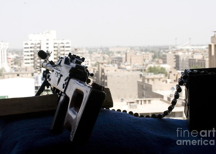7.62mm Greeting Card featuring the photograph A Pk 7.62mm Machine Gun Nest On Top by Terry Moore