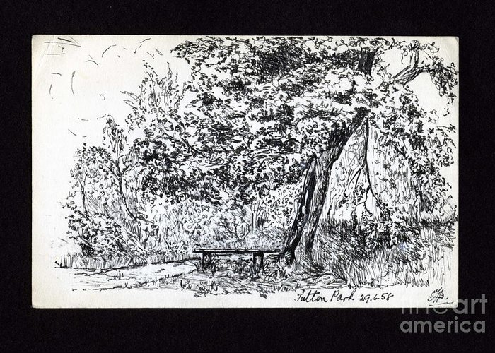 Park Scene Greeting Card featuring the drawing A Quiet Corner 1958 by John Chatterley