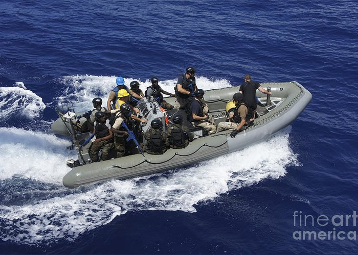 Inflatable Boats Greeting Card featuring the photograph A Rigid-hull Inflatable Boat Carrying by Stocktrek Images