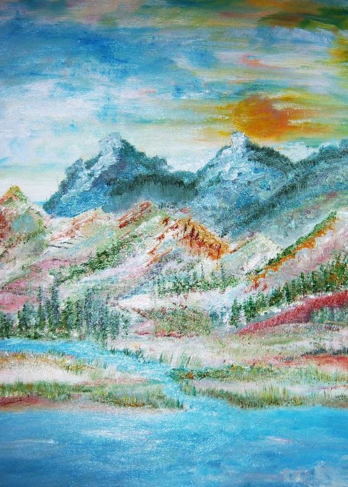 Landscape Greeting Card featuring the painting A River Runs Through by Fawn Whelahan