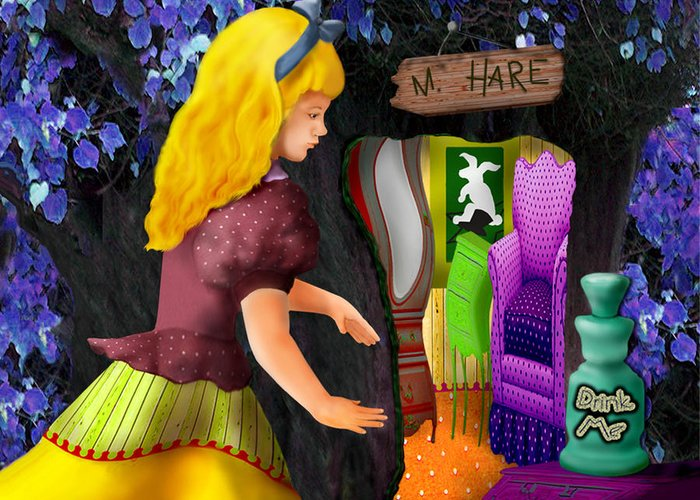 Alice Greeting Card featuring the digital art A Room In Wonderland by Lois Mountz