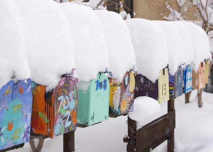 American Southwest Greeting Card featuring the photograph A Row Of Mailboxes In Winter by Ralph Lee Hopkins