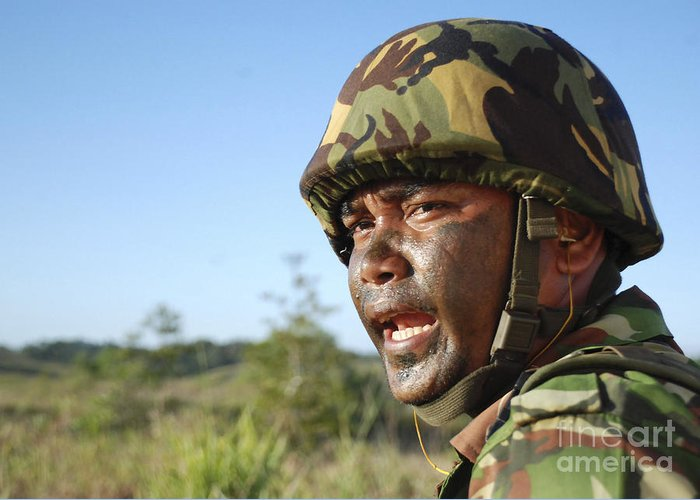 Shouting Greeting Card featuring the photograph A Royal Brunei Land Force Soldier by Stocktrek Images