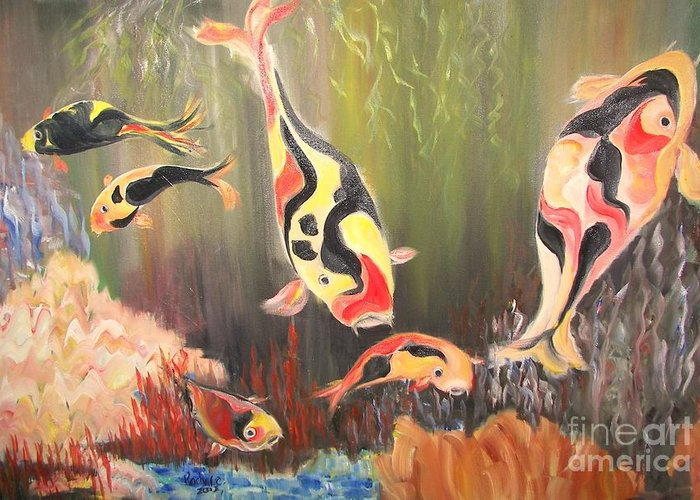 Fish Greeting Card featuring the painting A School Of Koi by Rachel Carmichael