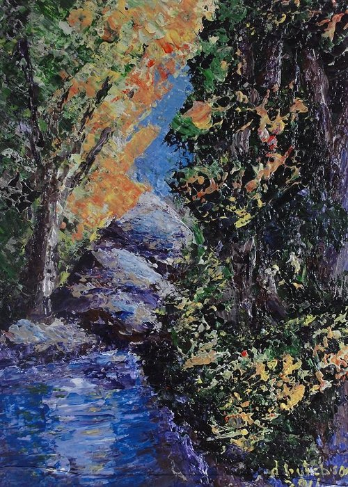 Creek Greeting Card featuring the painting A Secret Place by Don Hutchison