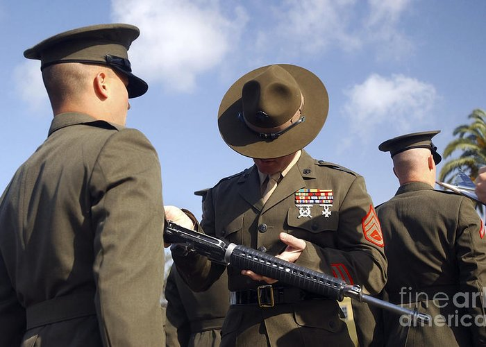 7.62mm Greeting Card featuring the photograph A Senior Drill Instructor Inspects by Stocktrek Images