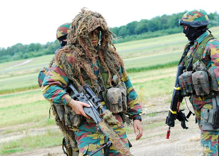 Adults Only Greeting Card featuring the photograph A Sniper Of The Belgian Army Together by Luc De Jaeger