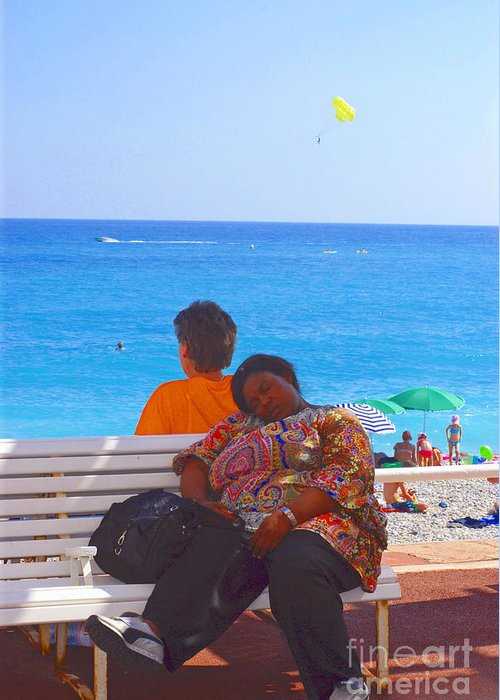 Balloon Greeting Card featuring the photograph A Snooze At The Beach II by Andrea Simon