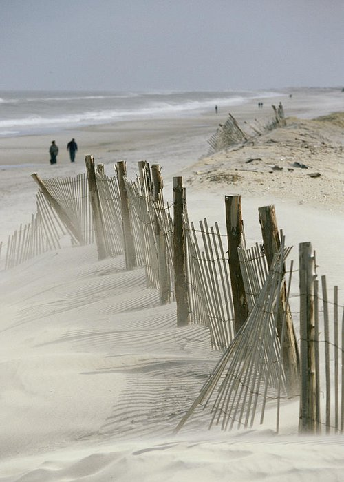 North America Greeting Card featuring the photograph A Snow Fence Stretches Across A Dune by Skip Brown