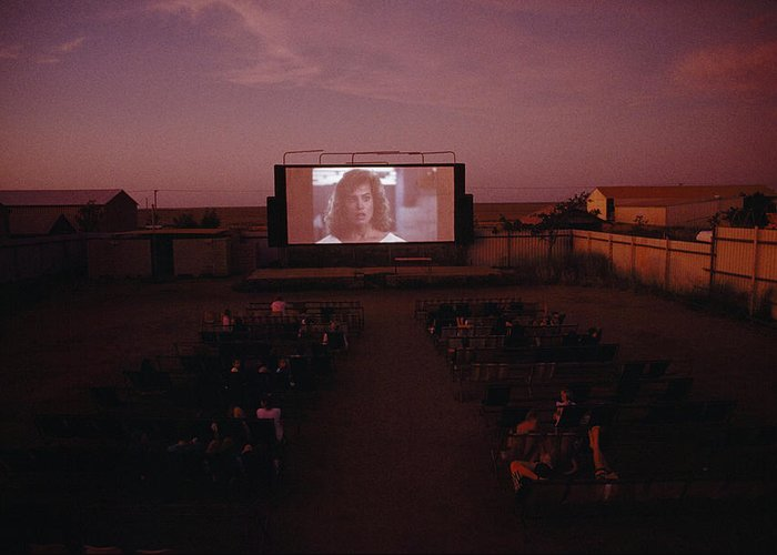 Outdoor Greeting Card featuring the photograph A Sparse Audience Watches A Film by Sam Abell