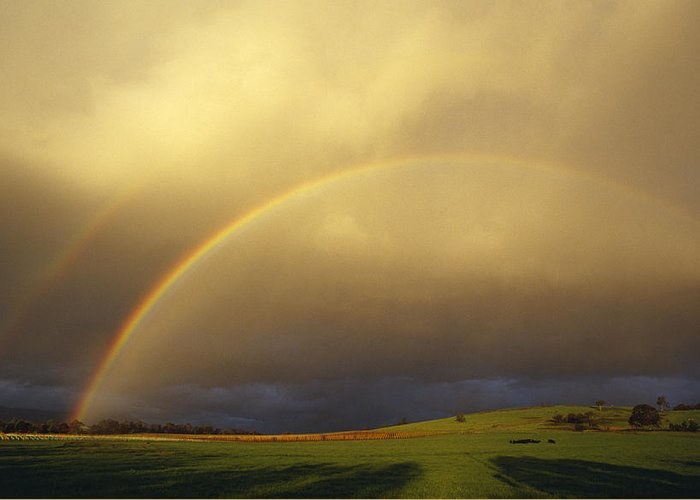 Yarra Valley Greeting Card featuring the photograph A Spectacular Double Rainbow And Storm by Jason Edwards