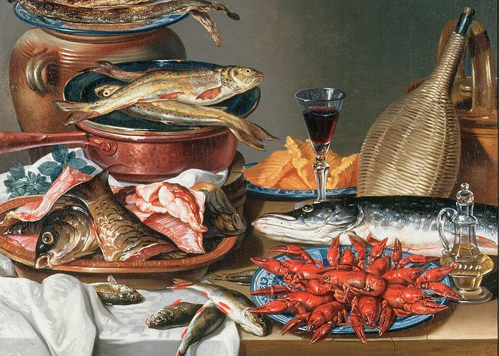 Olive Oil; Tablecloth; Herrings; Plate; Salmon; Filleted Greeting Card featuring the painting A Still Life Of A Fish Trout And Baby Lobsters by Anton Friedrich Harms