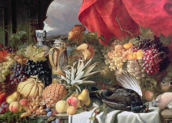A Still Life Of Game Birds And Numerous Fruits Greeting Card featuring the painting A Still Life Of Game Birds And Numerous Fruits by William Duffield