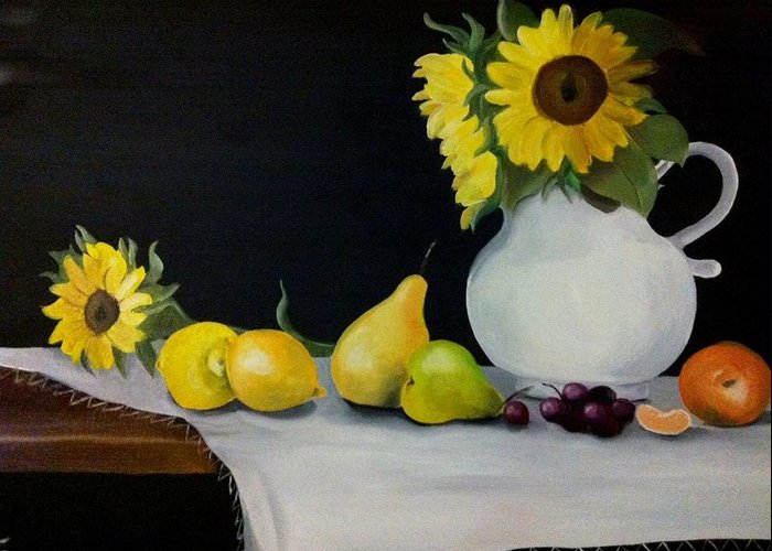 Still-life Greeting Card featuring the painting A Still-life by Rita Fernandes