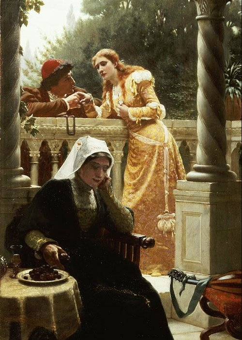 A Stolen Interview Greeting Card featuring the painting A Stolen Interview by Edmund Blair Leighton