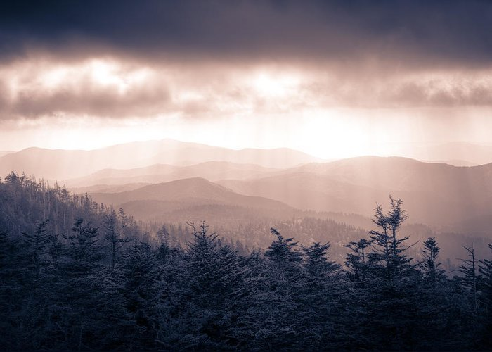 Great Smokey Mountains Greeting Card featuring the photograph a Storm Over the Smokys Monotone by Pixel Perfect by Michael Moore