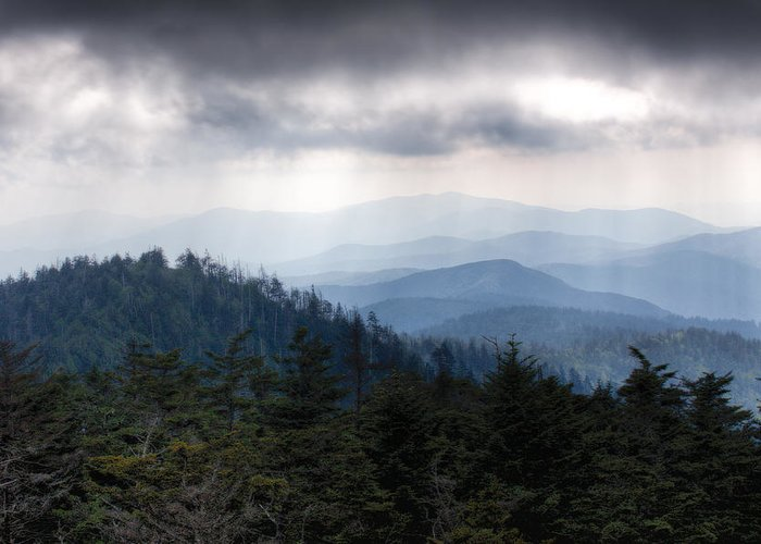 Great Smokey Mountains Greeting Card featuring the photograph A Storm Over The Smokys by Pixel Perfect by Michael Moore